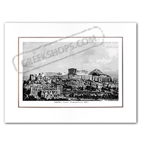Vintage Greek City Photos Attica - City of Athens, View of the Acropolis (1937)