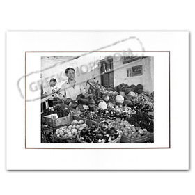 Vintage Greek City Photos Attica - City of Athens, Vegetable stand (1954)