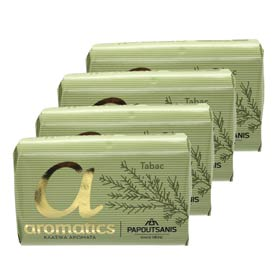 Papoutsanis Greek Aromatic Soaps - Amber & Cedar (Tabac), 4 x 125gr bars w/ Free US Shipping
