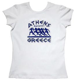 Code   6000 164b  ATHENS GREECE Marathon Runners Womens Tshirt Style 164b f54367bca
