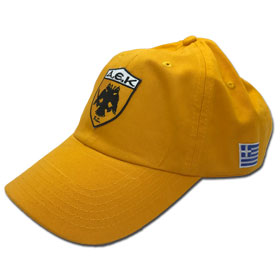 AEK Athens Adjustable Baseball Cap. In Yellow (Gold)