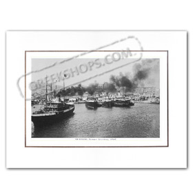 Vintage Greek City Photos Attica - Pireaus, Pireaus Port view (1950)