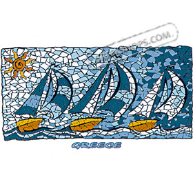 Ancient Greece Mosaic Tile Sailboats Tshirt Style D191