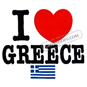 I Love Greece with Flag Tshirt Style D613