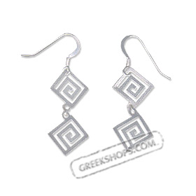 Sterling Silver Earrings - Handcrafted Hanging Double Greek Key Motif Links