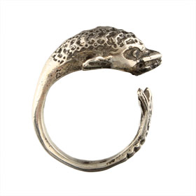 Sterling Silver Minoan Dolphin Ring (Adjustable)
