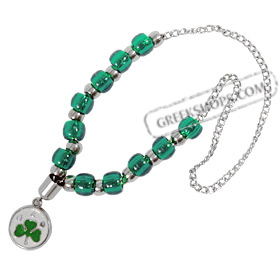 P.A.O. ( Panathinaikos ) Greek Sports Team Worrybeads on Metal Chain
