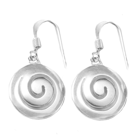"Sterling Silver ""Spira"" (Swirl) Minoan Motif Earrings w/ French Hooks (15mm)"