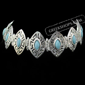 The Alcyone Collection - Sterling Silver Bracelet - Greek Key Oval (20mm) Turquoise