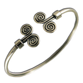 Double Spiral Sterling Silver Cuff Bracelet 6cm