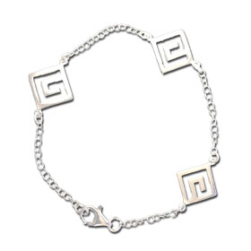 Sterling Silver Triple Greek Key Chain Bracelet, 18mm