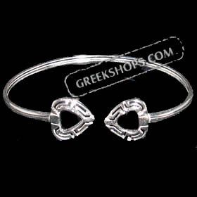 Sterling Silver Greek Key Heart Bracelet
