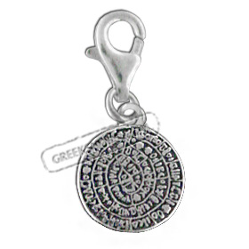 Sterling Silver Charm - Phaistos Disc (12mm)