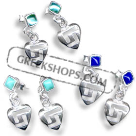Sterling Silver Greek Key Heart-Shaped Dangle Earrings