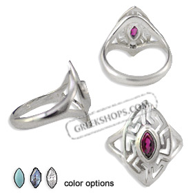 The Alcyone Collection - Sterling Silver Ring - Greek Key Oval (20mm) (Clearance 20% Off)