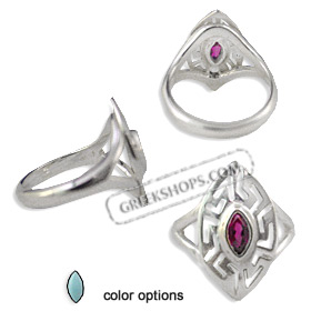 The Alcyone Collection - Sterling Silver Ring - Greek Key Oval (25mm) (Clearance 20% Off)