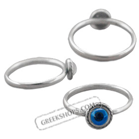 Greek Sterling Silver Mati Collection - Ring w/ Rope Border