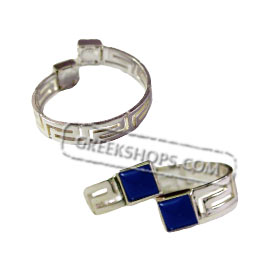 Sterling Silver Adjustable Ring w/ Greek Key & Gem Stone (Color Options)