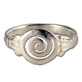 Sterling Silver Ring - Classici Swirl Motif 10mm