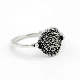 Sterling Silver Phaistos Disk Ring for Children (10mm)