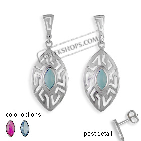 The Alcyone Collection - Sterling Silver Earrings - Greek Key Oval Large (40mm)