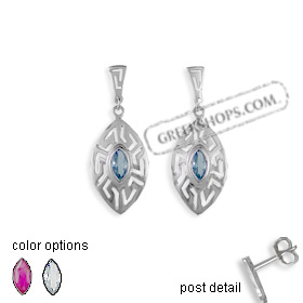 The Alcyone Collection - Sterling Silver Earrings - Greek Key Oval Small (35mm)  (Clearance 20% Off)