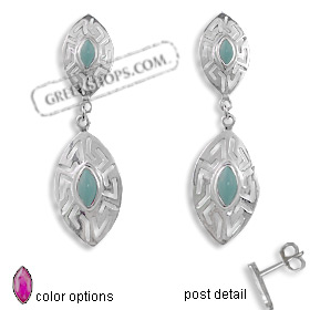 The Alcyone Collection - Sterling Silver Earrings - Double Greek Key Oval (50mm) (Clearance 20% Off)