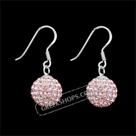 The Rio Collection - Swarovski Crystal Ball Hook Earrings Pink (10mm)