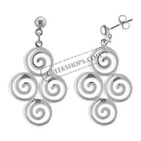 The Ariadne Collection - Sterling Silver Earrings - Cluster of Four Swirl Motif (31mm)