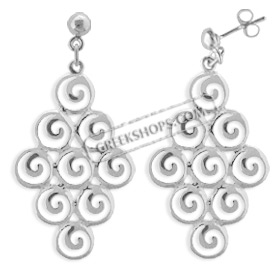 The Ariadne Collection - Sterling Silver Earrings - Cluster of Nine Swirl Motif (39mm)
