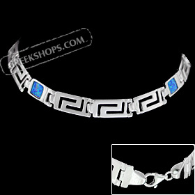The Neptune Collection - Sterling Silver Bracelet - Greek Key Opal Square (6mm)