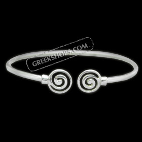 Sterling Silver Arm Bracelet - Swirl Motif (90mm)