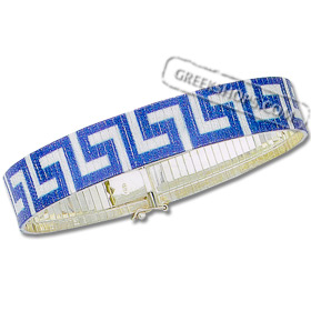 Platinum-Plated Sterling Silver Bracelet - Greek Key Laser Print Blue and Silver (13mm)