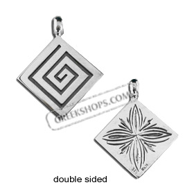 Sterling Silver Pendant - Double Sided Greek Key and Floral (25mm)