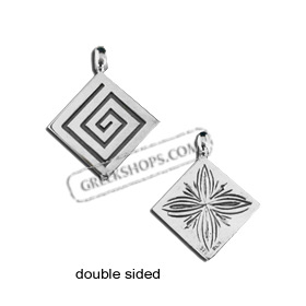 Sterling Silver Pendant - Double Sided Greek Key and Floral (19mm)
