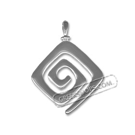 Sterling Silver Pendant - Rounded Greek Key Small (38mm)