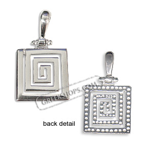 Sterling Silver Pendant - Greek Key Square Medium (16mm)