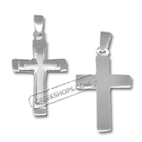 Sterling Silver Pendant - Sandblasted Cross (30mm)