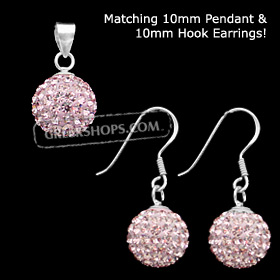 The Rio Collection - Swarovski Crystal Ball Pendant and Hook Earrings Pink