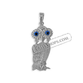 Platinum Plated Sterling Silver Pendant - Swaying Owl (28mm)