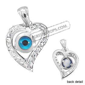 The Amphitrite Collection - Sterling Silver Pendant - Greek Key Heart w/ Mati & Swarovski (18mm)