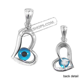 The Amphitrite Collection - Sterling Silver Pendant - Mati Evil Eye Heart (15mm)