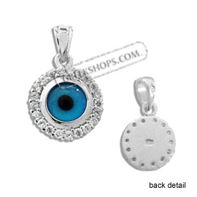 The Amphitrite Collection - Sterling Silver Pendant - Circle Mati Evil Eye w/ Swarovski (10mm)
