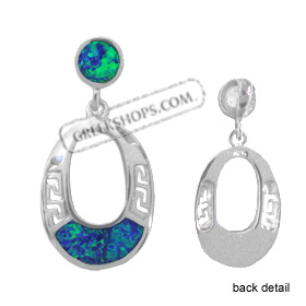 The Neptune Collection - Sterling Silver Pendant - Hanging Oval w/ Greek Key & Opal (21mm)