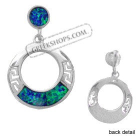 The Neptune Collection - Sterling Silver Pendant - Hanging Circle w/ Greek Key & Opal (21mm)
