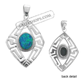 The Neptune Collection - Sterling Silver Pendant - Diamond w/ Greek Key & Opal (33mm)