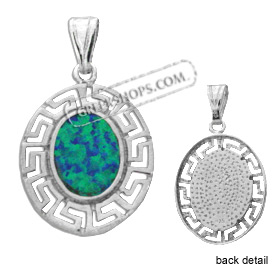 The Neptune Collection - Sterling Silver Pendant - Oval w/ Greek Key & Opal (23mm)