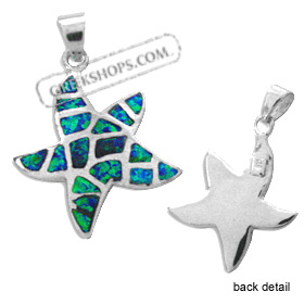 The Neptune Collection - Sterling Silver Pendant - Star w/ Opal Mosaic (23mm)