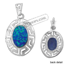 The Neptune Collection - Sterling Silver Pendant - Oval w/ Greek Key & Opal (21mm)