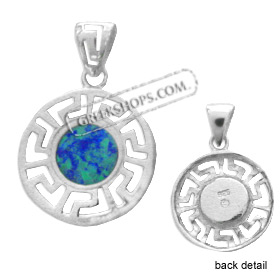 The Neptune Collection - Sterling Silver Pendant - Circle w/ Greek Key & Opal (18mm)